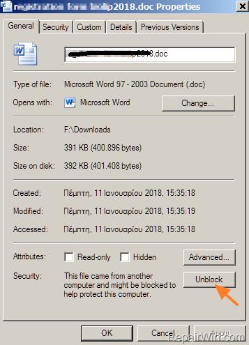 unblock file security