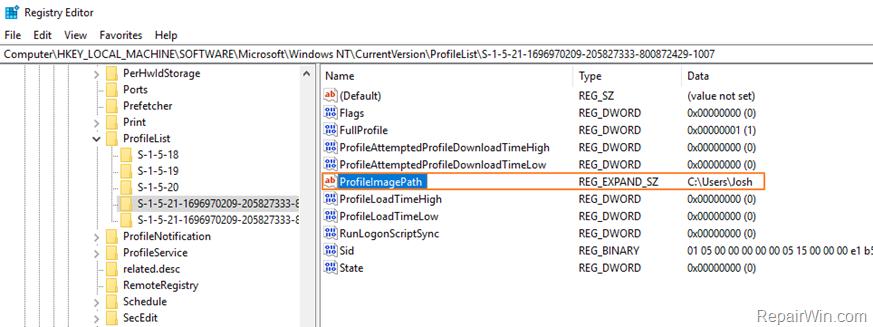 change user profile folder path