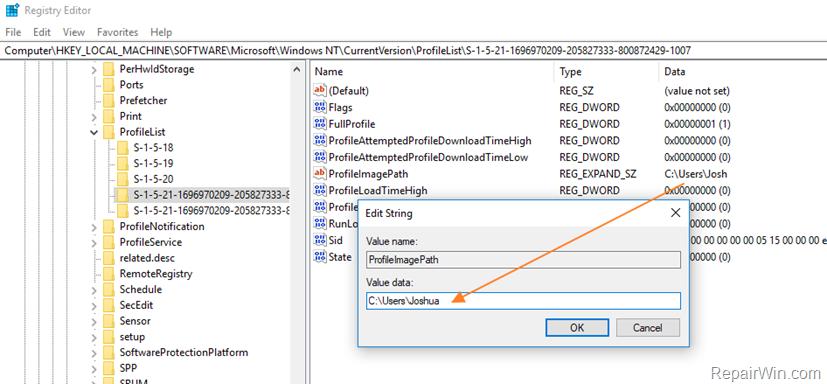 change user folder registry
