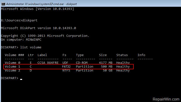 Reparación de archivos de arranque UEFI