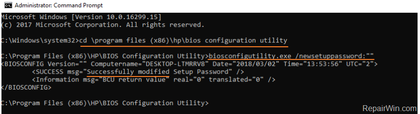 reset hp laptop passsword