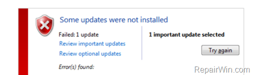 KB4103718 KB4103712 Update Fail to Install - fix