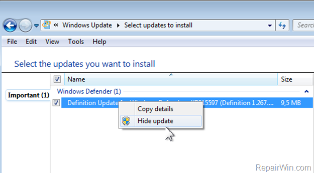 hide update windows 7