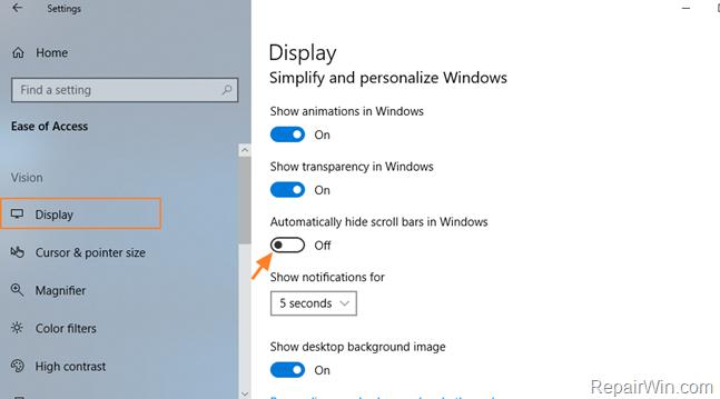 always show scroll bars windows 10
