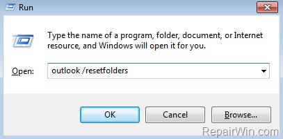outlook reset folders