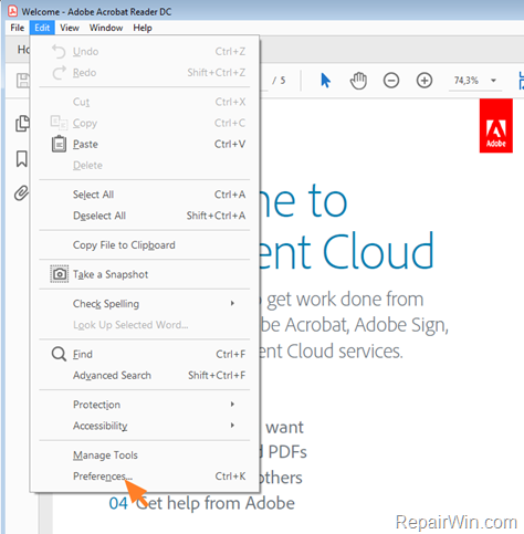 save as not working fix in Adobe Reader DC