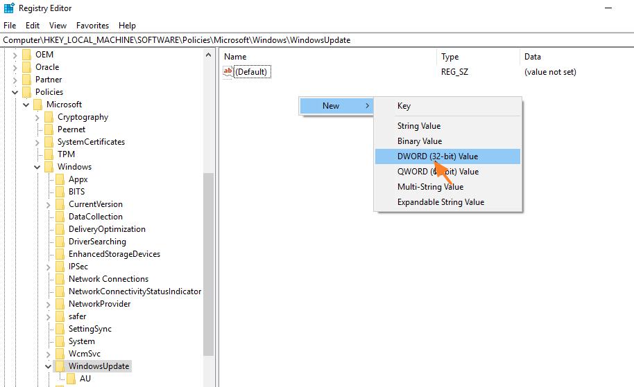 disable windows 10 update registry file