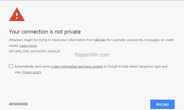 fix ERR_CERT_AUTHORITY_INVALID Chrome