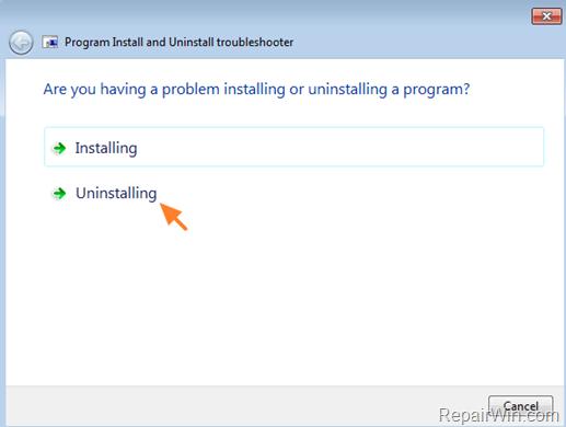 Program Install & Uninstall Troubleshooter