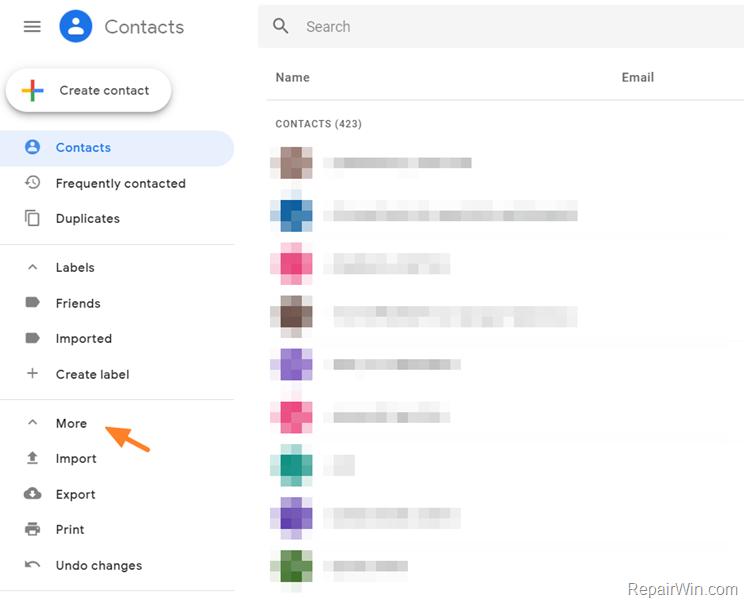 import export print google contacts