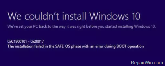 fix Windows 10 Update Error 0XC1900101 – 0x20017