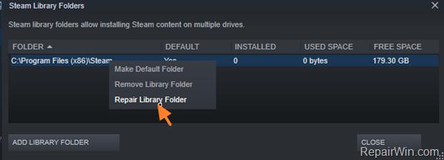 Repair Library Folder STEAM