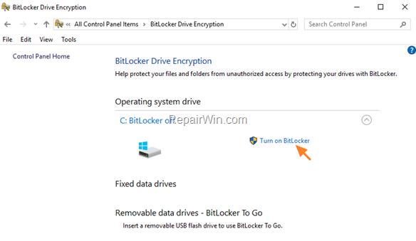 turn on bitlocker operating system drive
