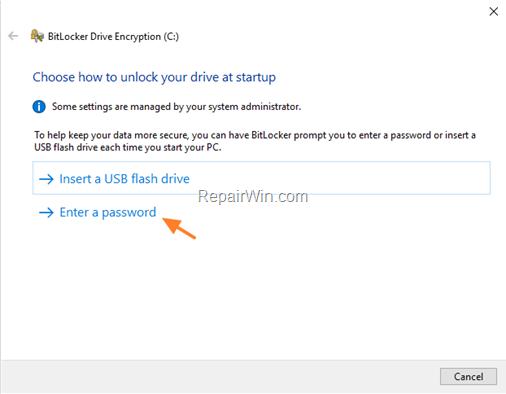 enable bitlocker protection windows 10