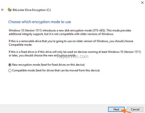bitlocker encryption mode