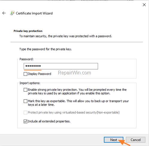 install efs .pfx certificate