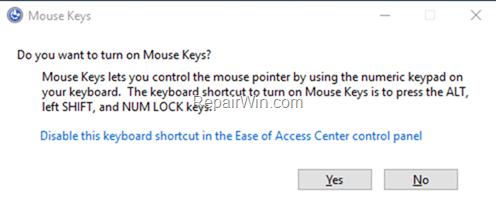 turn on mouse keys