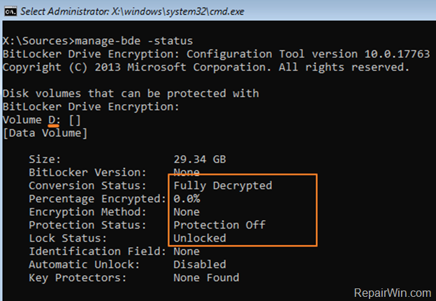 decrypt bitlocker encrypted drive windows removery environment