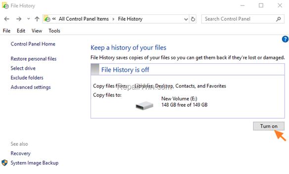 Turn On File History Windows 10