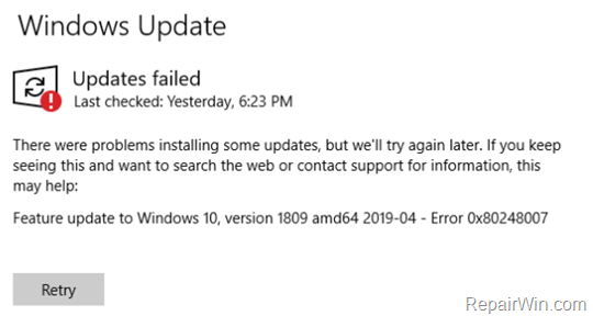 FIX Error 0x80248007 in Windows 10 Update