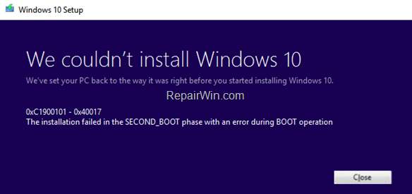 FIX 0xC1900101 – 0x40017 Installation failed in SECOND_BOOT phase