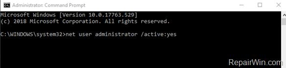 enable administrator account windows 10