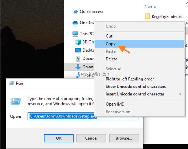 run blocked app windows 10