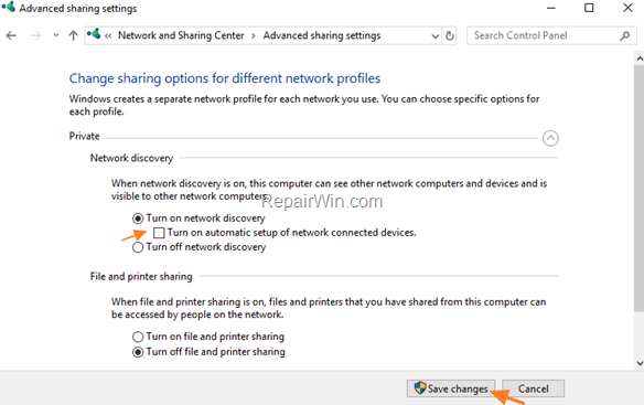 Turn Off automatic setup of network connected devices