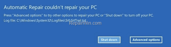 FIX: Automatic Repair couldn't repair your PC - SrtTrail.txt