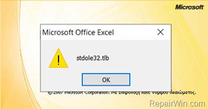 FIX stdole32.tlb error in Excel 2007 - 2010