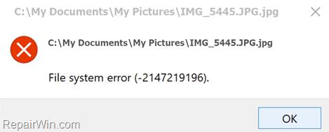 FIX: 2147219196 File system error in Photos app
