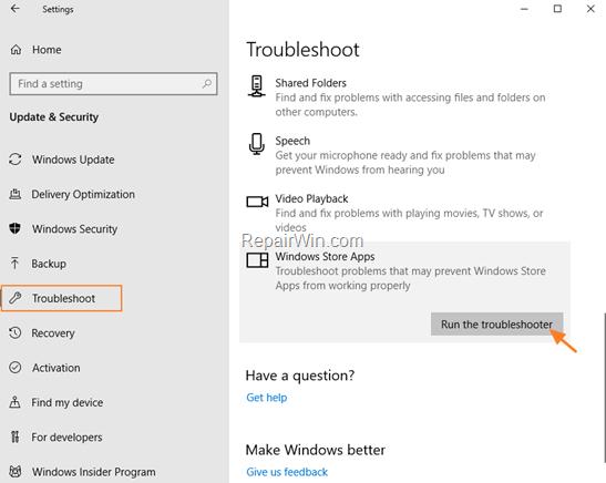 solucionador de problemas de aplicaciones de la tienda de Windows