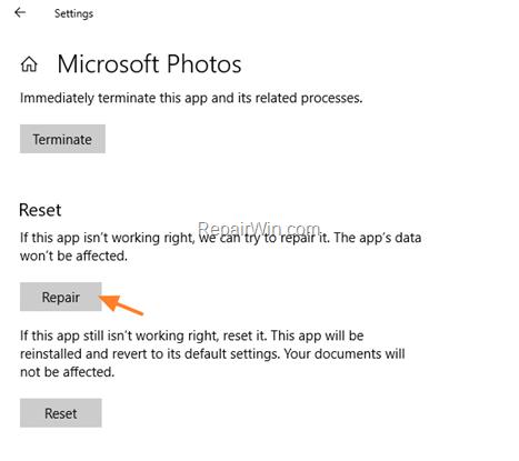 repair - reset photos app