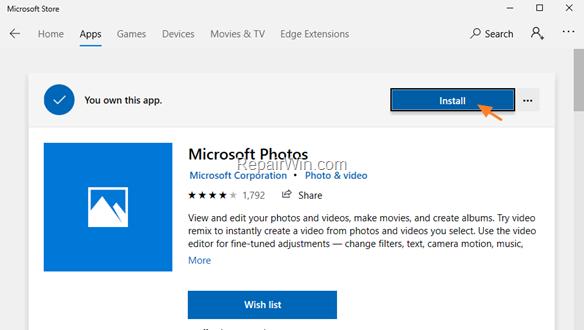 instalar la aplicación de fotos Windows 10