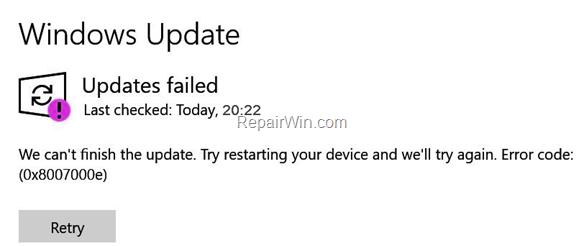 FIX: Windows 10 1903 Update Failed with error 0x8007000e