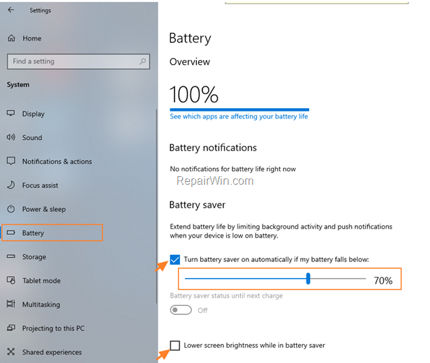 turn on battery saver Windows 10