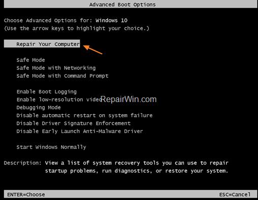 Repare su computadora en Windows 10