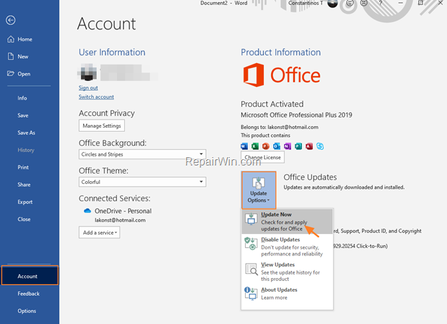 How to Check for Updates in Office 2019, 2016 or 2013 in Windows 10.