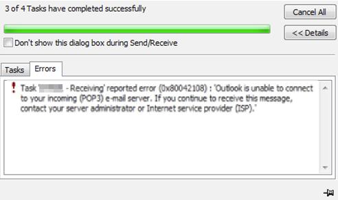 Outlook Error 0x80042108