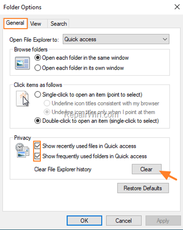 clear quick access history