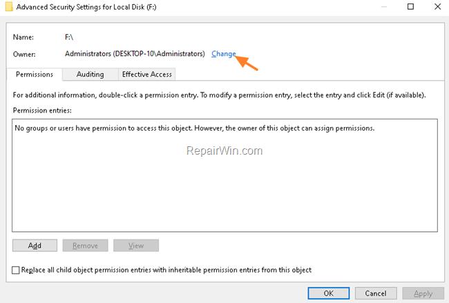 Modify Disk Permissions