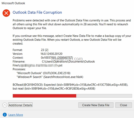 FIX: Outlook Data File Corruption