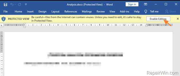 How to Remove Protected View Notification in Word-Excel