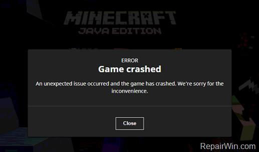 Minecraft Game Crashed