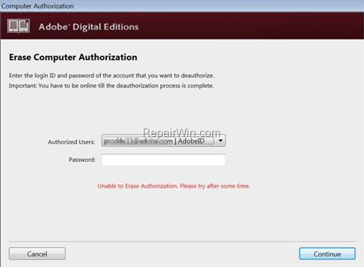 ADE - Cannot Erase Authorization.