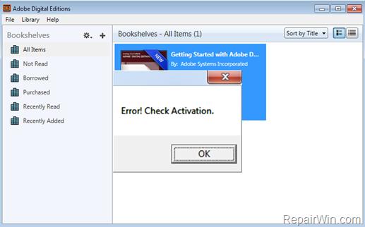 FIX: Error! Check Activation in Adobe Digital Editions
