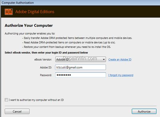 Authorize Adobe Digital Editions
