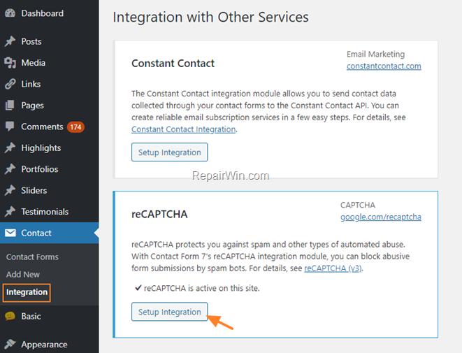 Integrate Recaptcha in Contact Form 7