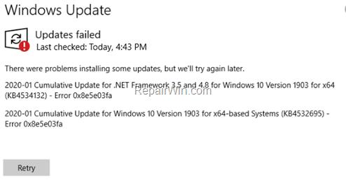 FIX Windows 10 Update Error 0x8e5e03fa