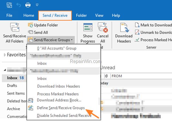 Outlook Send/Receive > Define Send/Receive Groups